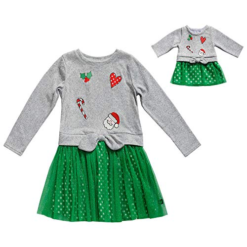 Dollie & Me Girls' Little Knit/Glitter MesH Matching Doll Dress, Grey/Green, 6 -