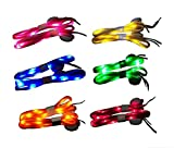 KINGZHUO 6 Pairs Colorful LED Nylon Shoelaces Light Up Shoe Laces Disco Flash Lighting the Night for Party Hip-hop Dancing Cycling Hiking Skating