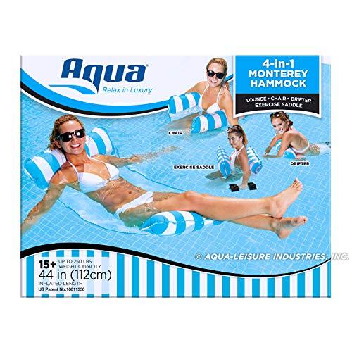Aqua 4-in-1 Monterey Hammock Inflatable Pool Float, Multi-Purpose Pool Hammock (Saddle, Lounge Chair, Hammock, Drifter) Pool Chair, Portable Water Hammock, Light Blue/White Stripe