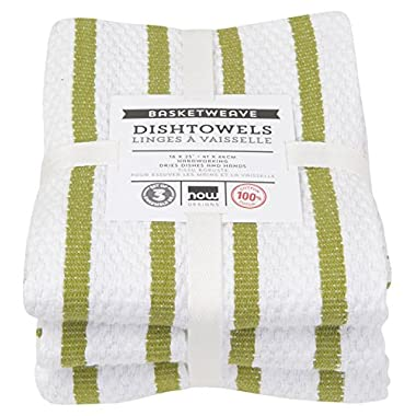 Now Designs Basketweave Kitchen Towel, Set of 3, Cactus Green
