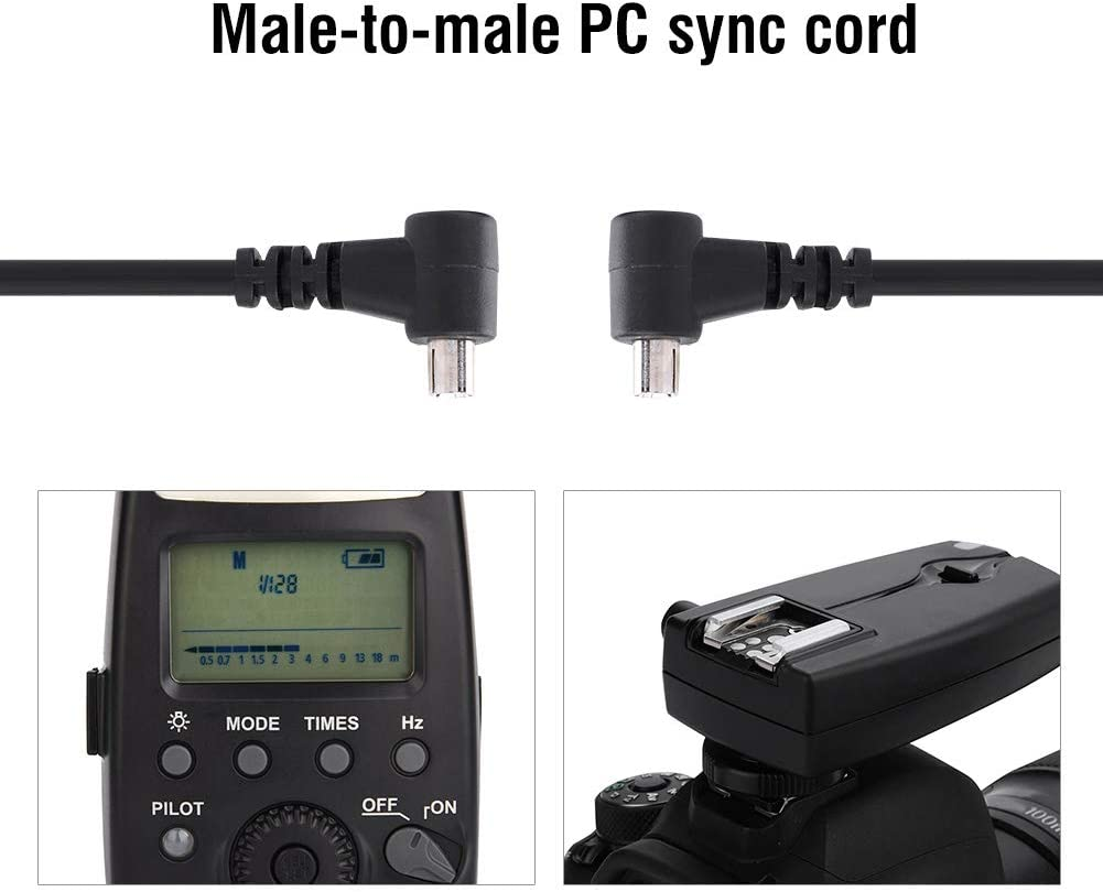 30cm Plastic PC-PC Male to Male Flashlight Camera Sync Cable Cord