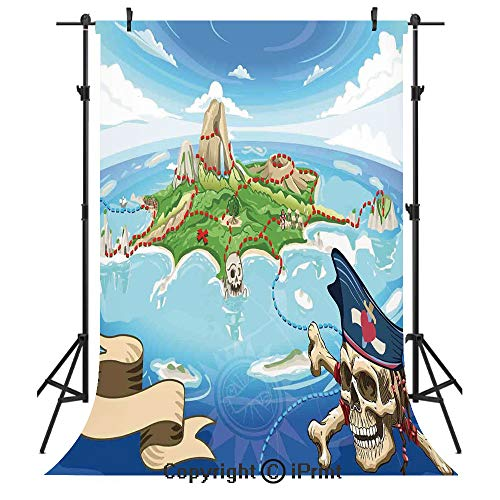 Island Map Photography Backdrops,Aerial View Fantasy Pirate Cove Island with Crossbones and Captain Skull Figure,Birthday Party Seamless Photo Studio Booth Background Banner 5x7ft,Multicolor (Map Aerial Photography)