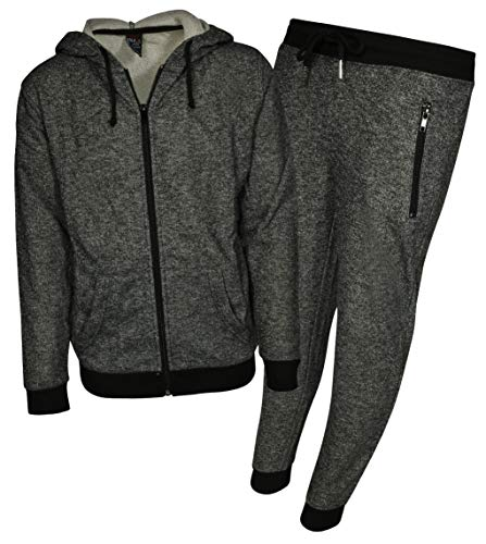 Galaxy by Harvic Boys 2-Piece Active French Terry Hoodie Jogger Set, Heather Black, Medium'