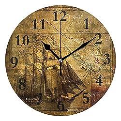 NMCEO Round Wall Clock Antique Map Compass Pirate Acrylic Original Clock for Home Decor Creative