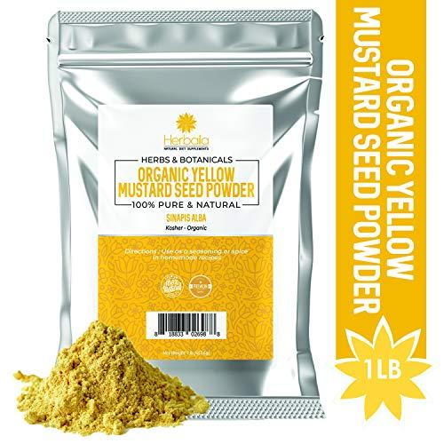 Organic Yellow Mustard Seed Powder, 1 Pound (High Fiber & Magnesium) Ground Mustard Powder/Flour Bulk in Resealable Bag, Kosher & Gluten-Free