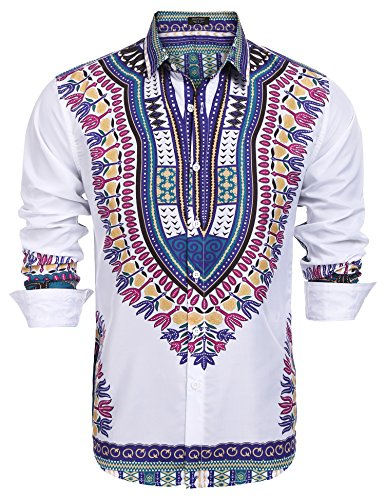 49f9921dba9 COOFANDY Men s African Dashiki Print Dress Shirt Slim Fit Long Sleeve  Casual Floral Button Down Shirt