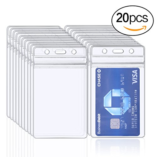 ID Badge Holder, Plastic Name Key Card Tag Holder 20 (Name Badge Cards)