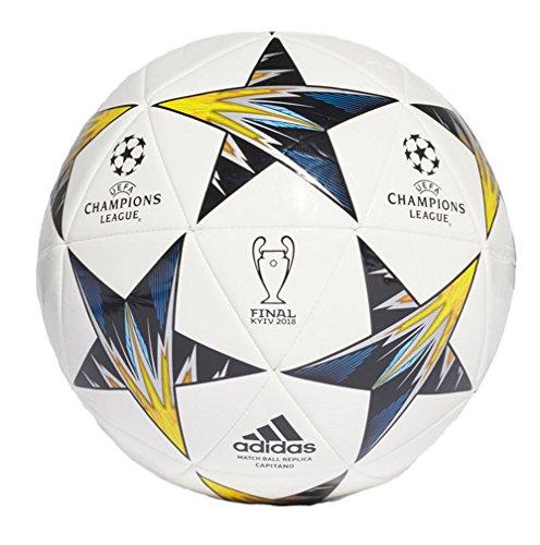 adidas Performance Champions League Finale Kiev Capitano Soccer Ball, White/Yellow/Blue, Size 3