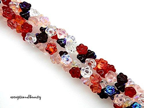 100 Strawberry Fields Mix Czech Glass 7x6mm Cone Flower Button Drop Beads (Czech Glass Flower Buttons)