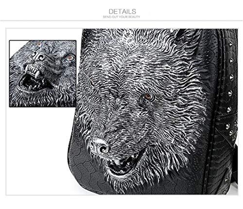 sac mode 3D dos portable Mouth en bandoulière adolescentes de Close filles PU adapté loup Silver ordinateur tête cool les cuir de sac Sac xwSdtTS