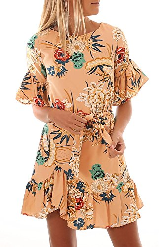 l Crew Neck Short Sleeve Loose Ruffles Boho Floral Beach Short Dress Large Apricot (Crew Short Sleeve Shorts)
