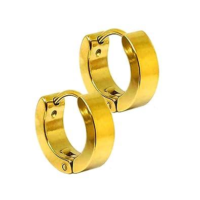 31aed3978a7c 2 Criollas Pendientes Aro Aretes Oreja Piercing Huggie Hoop Clip Acero  Inoxidable color oro 5 tamaños diferentes