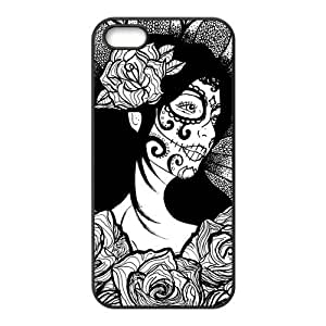 LeonardCustom Protective Rubber Gel Silicon Coated Cover Case for iPhone 5/5S , Day of the Dead Skull
