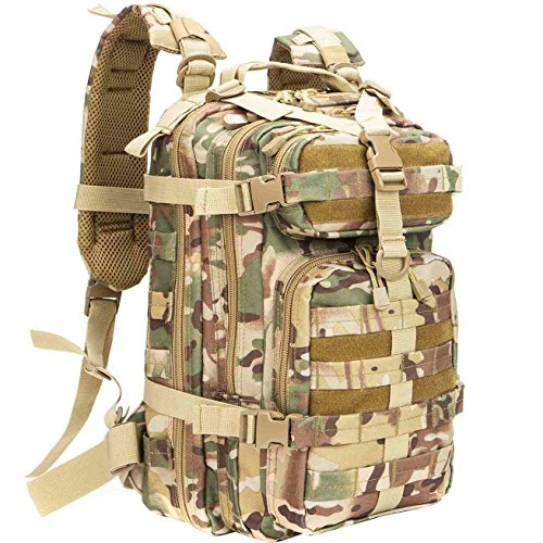 Zombie Survival Backpack (WolfWarriorX Small Military Tactical Assault Hiking Camping Fishing Trekking Traveling Extreme Water Resistant Rucksack Molle Bug Out Bag Laptop Backpack Black)