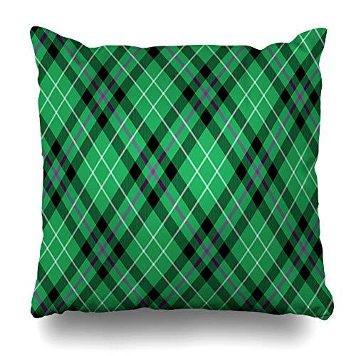 Ahawoso Throw Pillow Cover Pillowcase Scotland Green Black Hibernian Fc Tartan Diagonal Abstract Cashere Ireland Celtic Check Clan Culture Home Decor Design Square Size 18