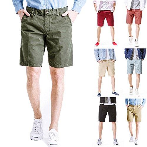 haoricui Men's Summer Shorts Sports Pure Color Casual Loose Sweatpants Elastic Waist Cargo Pant Beige