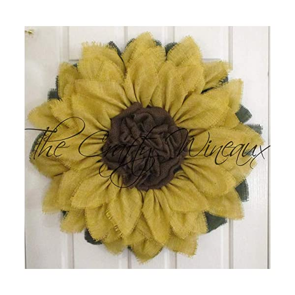Extra Large 30″ Light Yellow Burlap Sunflower Wreath by The Crafty WineauxTM