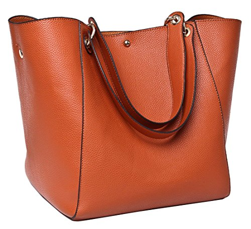 TIBES Fashion Waterproof Shoulder Bag PU Leather Handbag Tote Brown