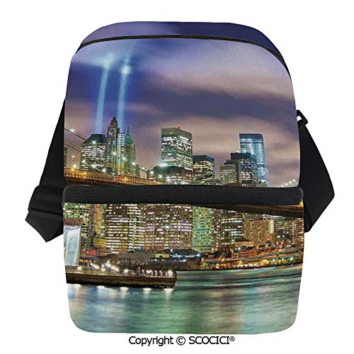 (SCOCICI Reusable Insulated Grocery Bags Manhattan Skyline with Brooklyn Bridge and Towers of Lights in NYC United States Thermal Cooler Waterproof Zipper Closure Keeps Food Hot Or Cold )
