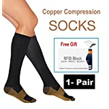 Knee High Anti-Fatigue Compression Sock Relieve Pain & Swelling, Pair + 1 Free Gift