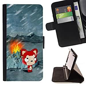 Cute Winter Cat - Painting Art Smile Face Style Design PU Leather Flip Stand Case Cover FOR Sony Xperia m55w Z3 Compact Mini @ The Smurfs