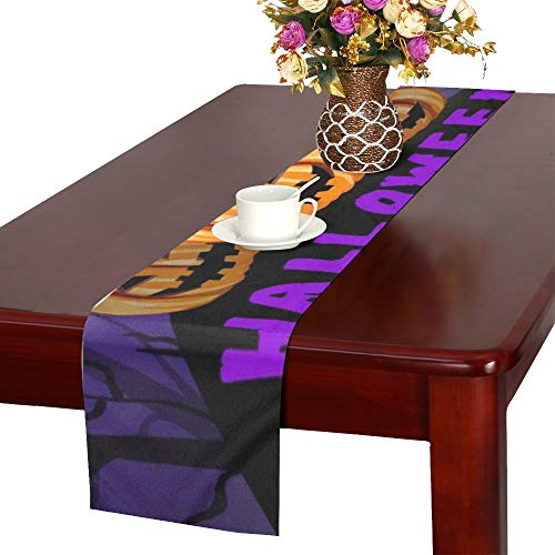 Halloween Party Flyer Pumpkins Table Runner, Kitchen Dining Table Runner 16 X 72 Inch for Dinner Parties, Events, Decor -