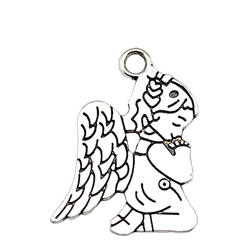 Praying Angel Charm - NEWME 30pcs praying angel Charms Pendant For DIY Jewelry Wholesale Crafting Bracelet and Necklace Making (antique silver)
