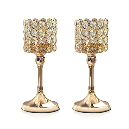 gold crystal cylinder candle holders