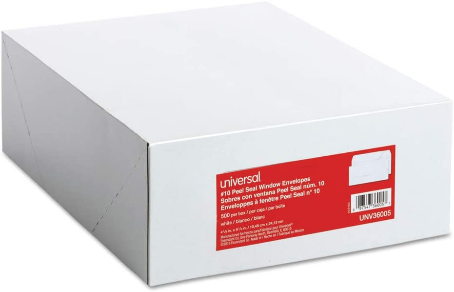 Window Universal One Peel Seal Strip Business Envelope White 500//Box 10
