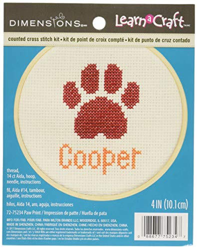Dimensions Learn-A-Craft 'Paw Print' Mini Counted Cross Stitch Kit for Beginners, Personalized Pet Name Craft, 4''