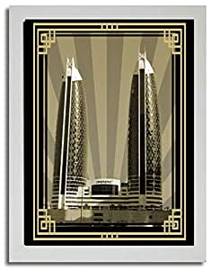 Photo of Damac Tower-Sepia With Gold Border No Text F03-M (A2)
