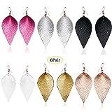 Petal Leather Earrings Teardrop Earrings - Colourful Fuax Leather Leaf Dangle Earrings Handcrafted Geometric Jewelry For Women Grils (6 Pairs) (B)