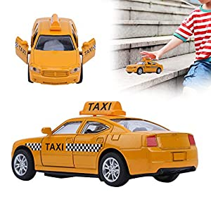Model Car, Pull Back Diecast Model High Simulation Music Light Effect Taxi Cab, Alloy Yellow for Boys Kids(Yellow, Taxi…