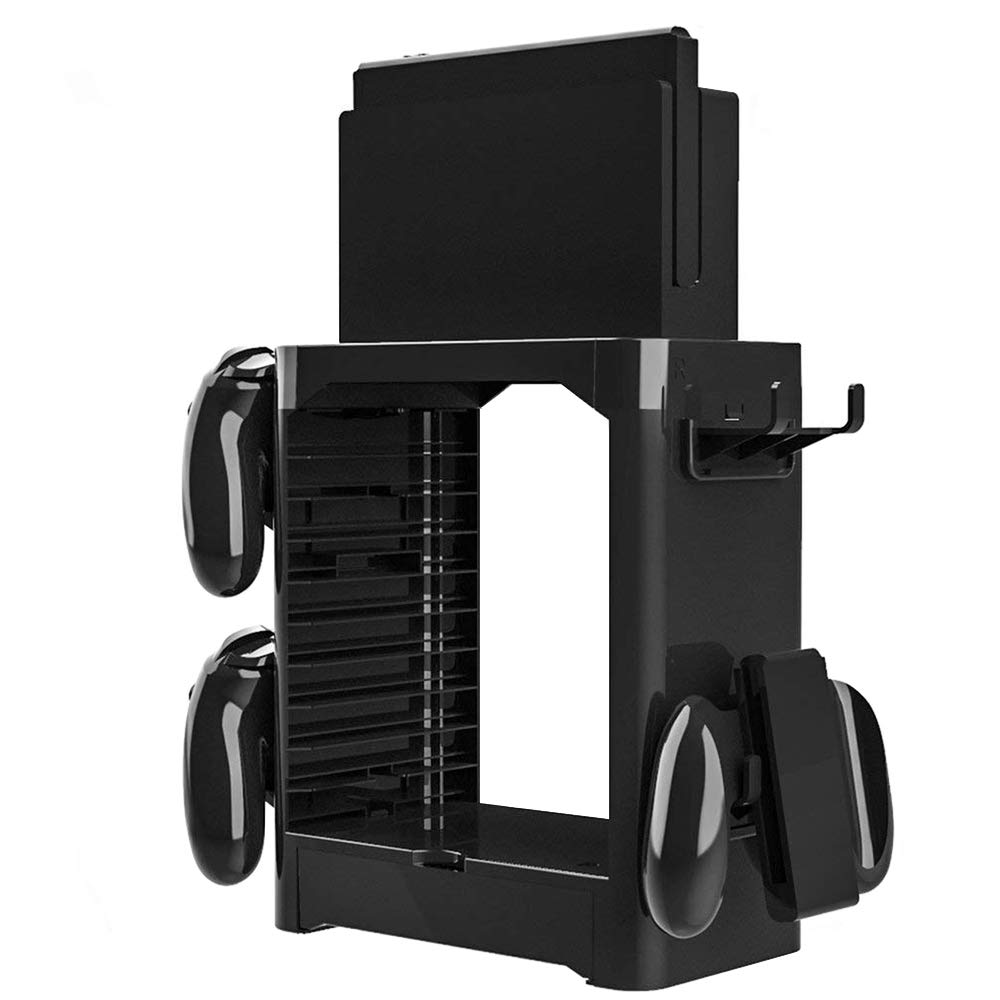 HIOTECH Nintendo Switch Multi-Function Storage Bracket, Tower Holder Stand Shelf for Switch Game Disc Card Switch Console Host Switch Controller Switch Accessories