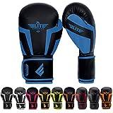 Elite Sports Boxing, Kickboxing, Adult & Kids Muay Thai Gel Sparring Training Gloves (Blue, 4 oz)