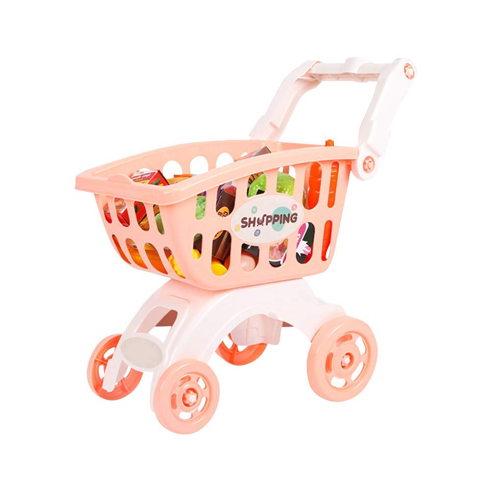 Kids Mini Simulation Shopping Mall Supermarket Cart Trolley Toy Pretend Play House Handcart