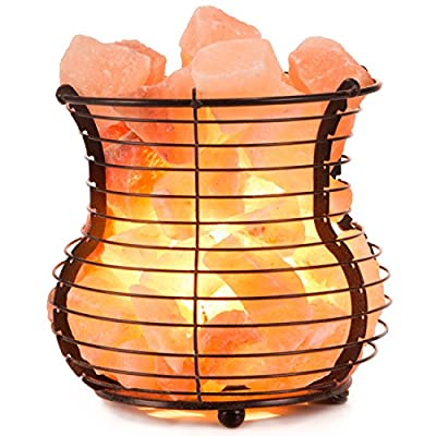 Crystal Allies: Natural Himalayan Salt Wire Mesh Basket Vase Lamp with Cord - Choose Your Design