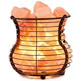 Crystal Allies Gallery: Natural Himalayan Salt Wire Mesh Basket Vase Lamp with Cord, Light Bulb & Authentic Crystal Allies Info Card