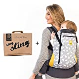 LILLEbaby Carry Me Bundle - 2 items: Oh Deer 3-1 CarryOn All Seasons Toddler Carrier and Ring Sling Magic (Black)