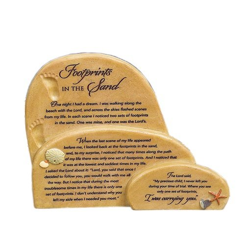 "Abbey Gift   ""Footprints in the Sand"" Sitter Plaque, 7.5 x 6.13 x 1″"