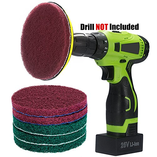 Kichwit 5 Inch Drill Powered Brush Tile Scrubber Scouring Pads Cleaning Kit, 2 Different Stiffness, 5-Inch Disc Pad Holder with 6 Scrubbing Pads, Cleans Large Flat Areas Perfectly - Disc Brush