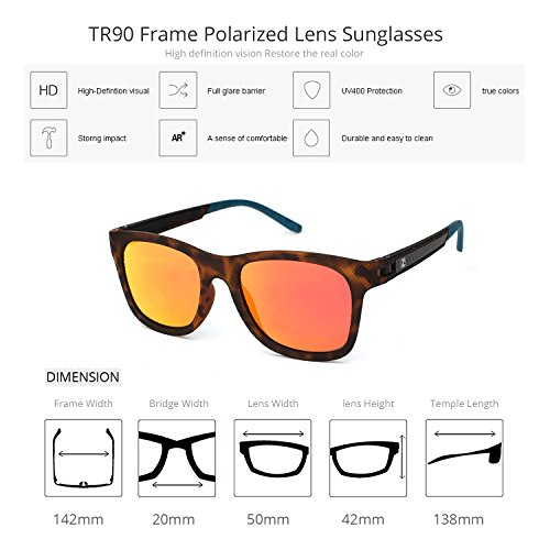 Para Moda Orange ZENOTTIC Hombre Espejo TR90 Reflectantes Tortoise Polarizadas de Frame Mujer Lentes De Wayfarer Mirrored Monturas Gafas Lens C1 Sol pwpUdq5