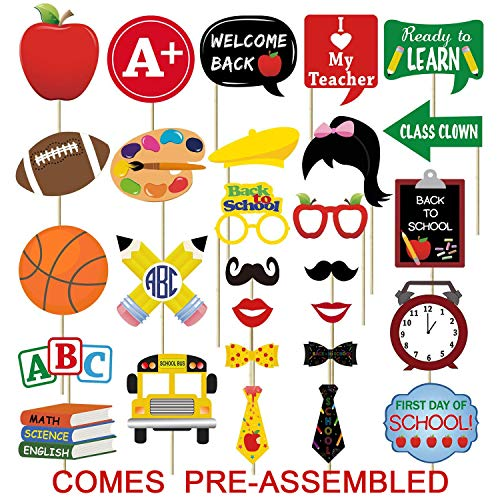 28PCS Back To School Photo Booth Props Kit - No DIY Assembled Required - First Day of School Decorations Party Supplies Favors]()