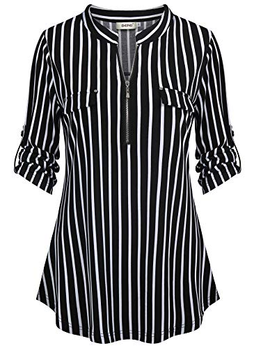 (BEPEI Tunic Tops for Women,Notch V Neck Vertical Stripe Tunic Top Adjustable Sleeve Contemporary Novelty T-Shirt Easily Wear with Jeans Denim Capris Black White L)