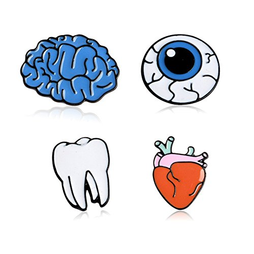 Fruit Brooch Pin (Cartoon Animal Plant Floral Fruits Foods Enamel Brooches Pins for Children Women Girls Clothing Bags Backpacks Jackets Decor (Teeth Eyeballs Brain Heart Set of 4))