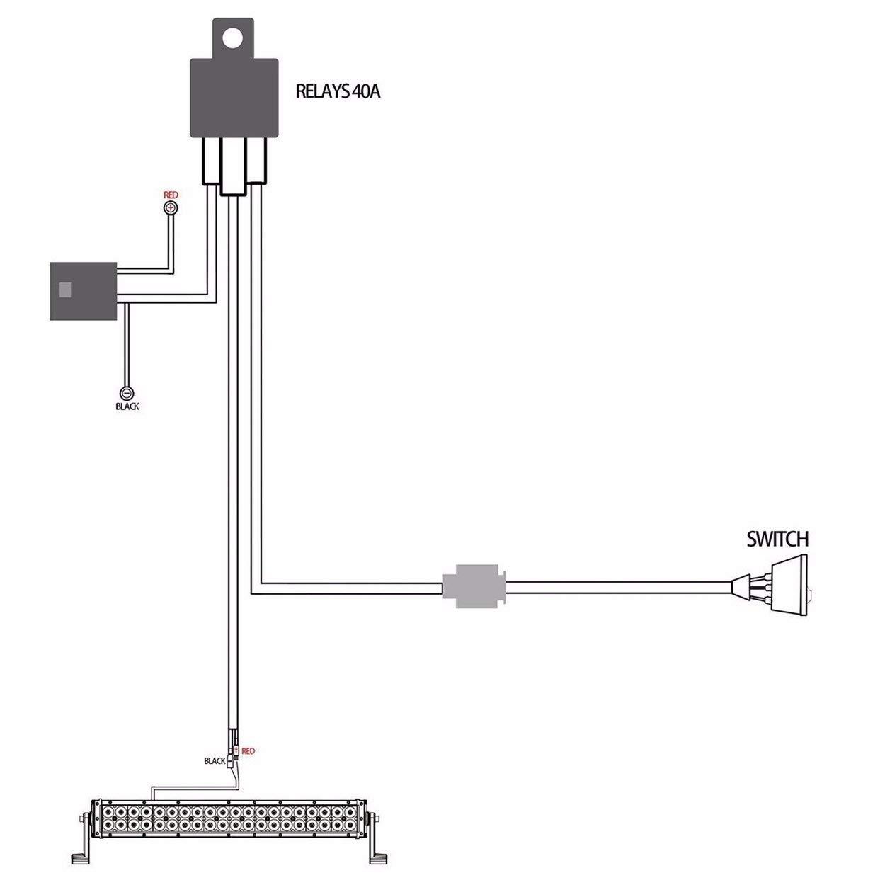 Lorenlli Telar del kit del arn/és de cableado de la luz antiniebla universal 12V 40A para trabajo HID Barra de luces de conducci/ón con fusible e interruptor de rel/é