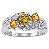 ArtCarved Love You Too Simulated Citrine November Birthstone Ring, Sterling Silver, Size 7