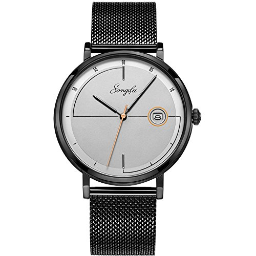 Watch Men's Unique Fashion Quartz Mens Watches Date Analog Wrist Watches with Milanese Mesh Band - Gray Dial