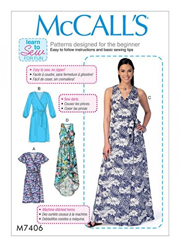 (McCalls Ladies Easy Learn to Sew Sewing Pattern 7406 Wrap Dresses & Belt)