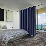 SUO AI TEXTILE Total Privacy Room Darkening Room Divider Curtains 10ft x 8ft Navy Blue 1 Panel